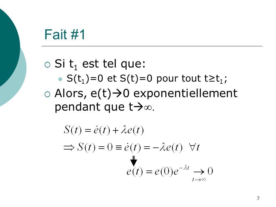 Fait #1 Si t1 est tel que: S(t1)=0 et S(t)=0 pour tout t≥t1; Alors, e(t)0 exponentiellement pendant que t∞.
