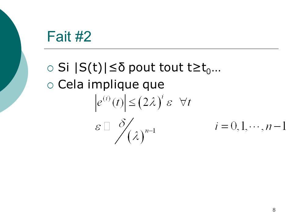 Fait #2 Si |S(t)|≤δ pout tout t≥t0… Cela implique que 8