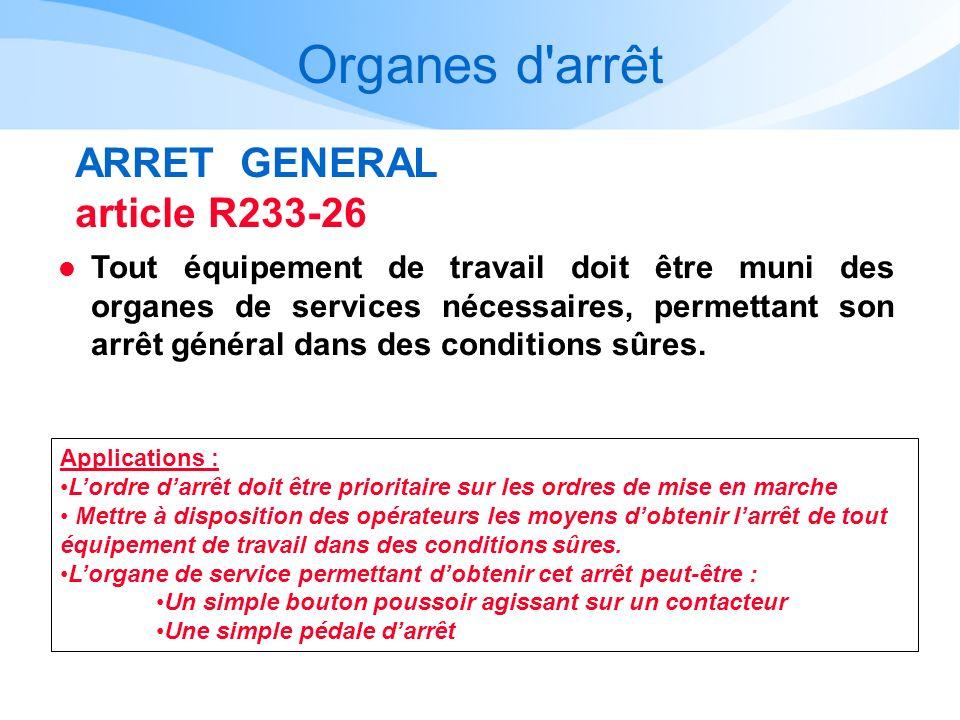 Organes d arrêt ARRET GENERAL article R233-26
