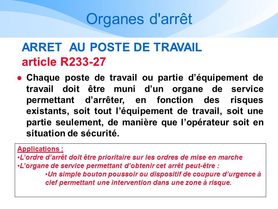 Organes d arrêt ARRET AU POSTE DE TRAVAIL article R233-27