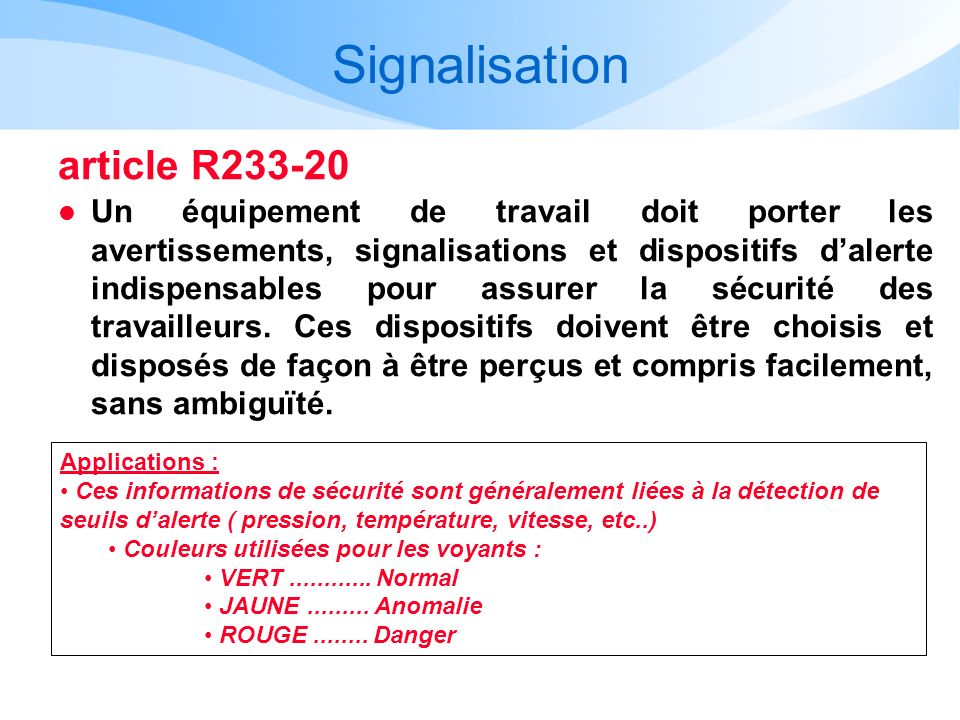 Signalisation article R233-20