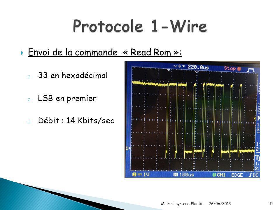 Protocole 1-Wire Envoi de la commande « Read Rom »: 33 en hexadécimal