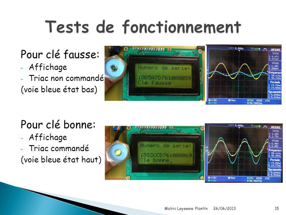 Tests de fonctionnement
