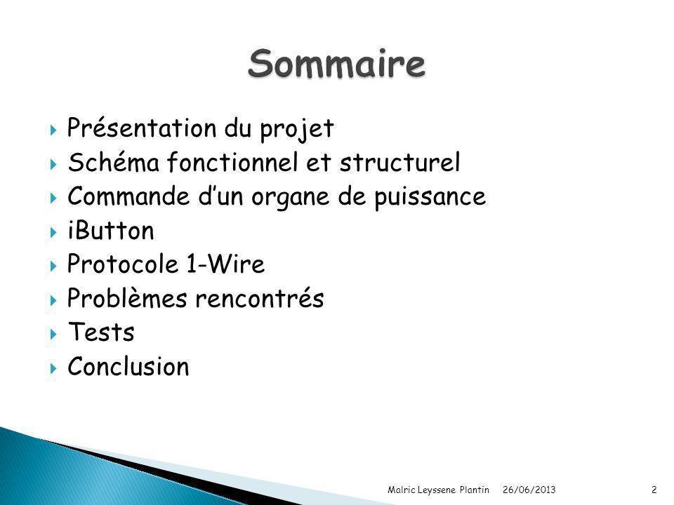 Sommaire Présentation du projet Schéma fonctionnel et structurel