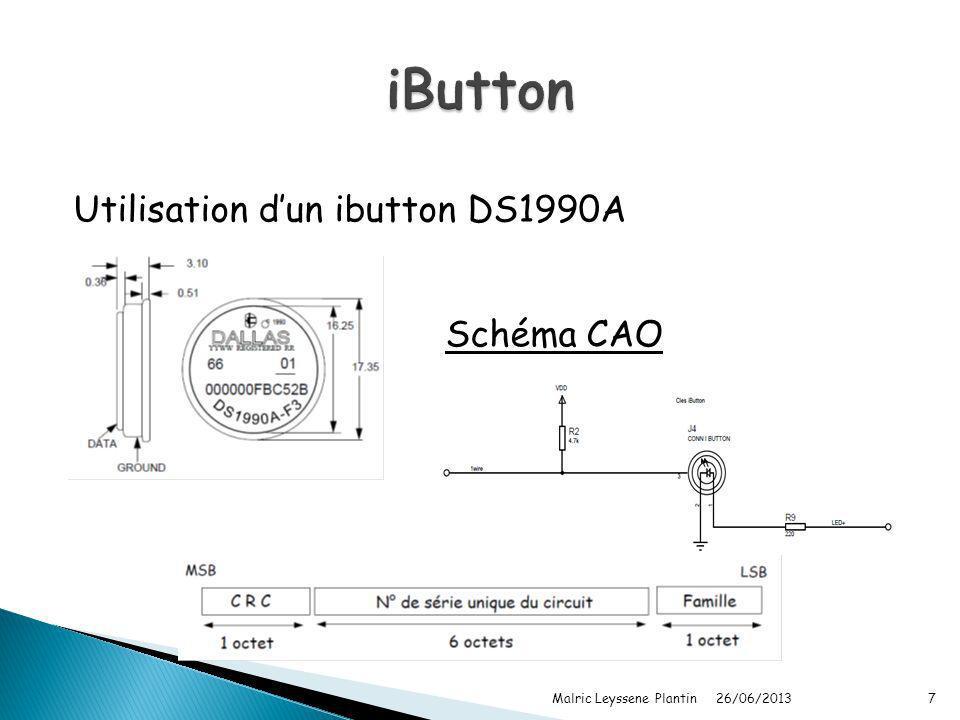 iButton Utilisation d'un ibutton DS1990A Schéma CAO