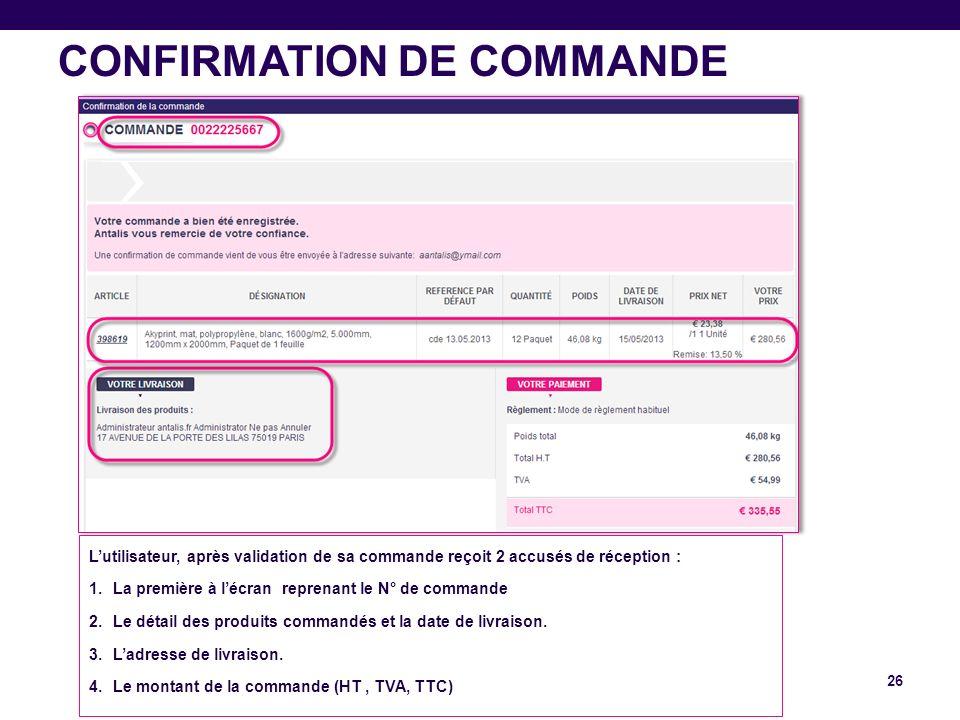 CONFIRMATION DE COMMANDE