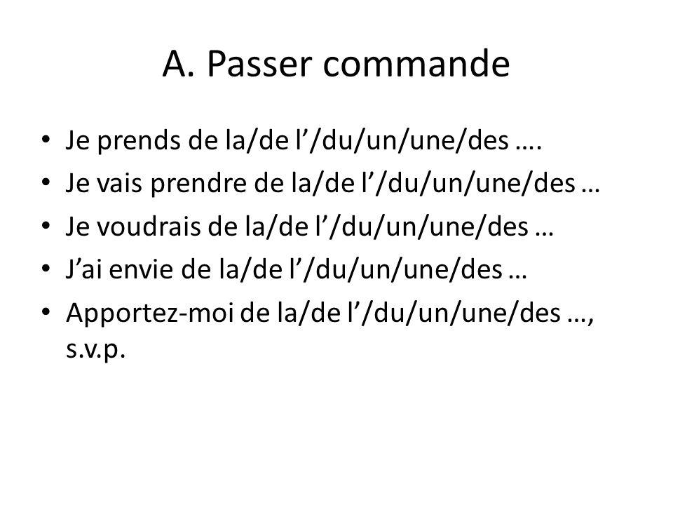 A. Passer commande Je prends de la/de l'/du/un/une/des ….