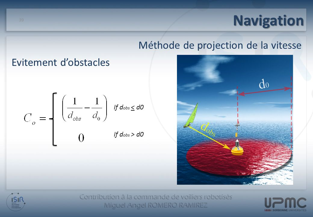 Navigation Méthode de projection de la vitesse Evitement d'obstacles