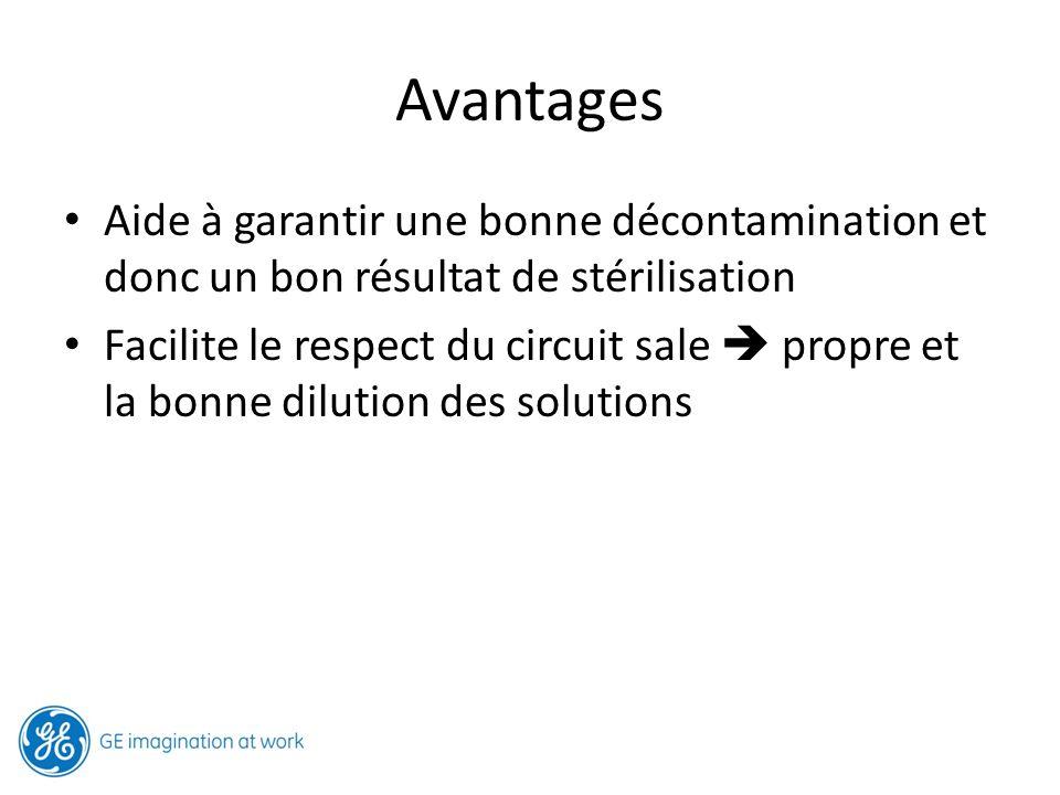 Avantages Aide à garantir une bonne décontamination et donc un bon résultat de stérilisation.