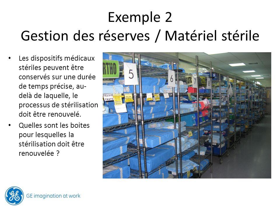 Exemple 2 Gestion des réserves / Matériel stérile