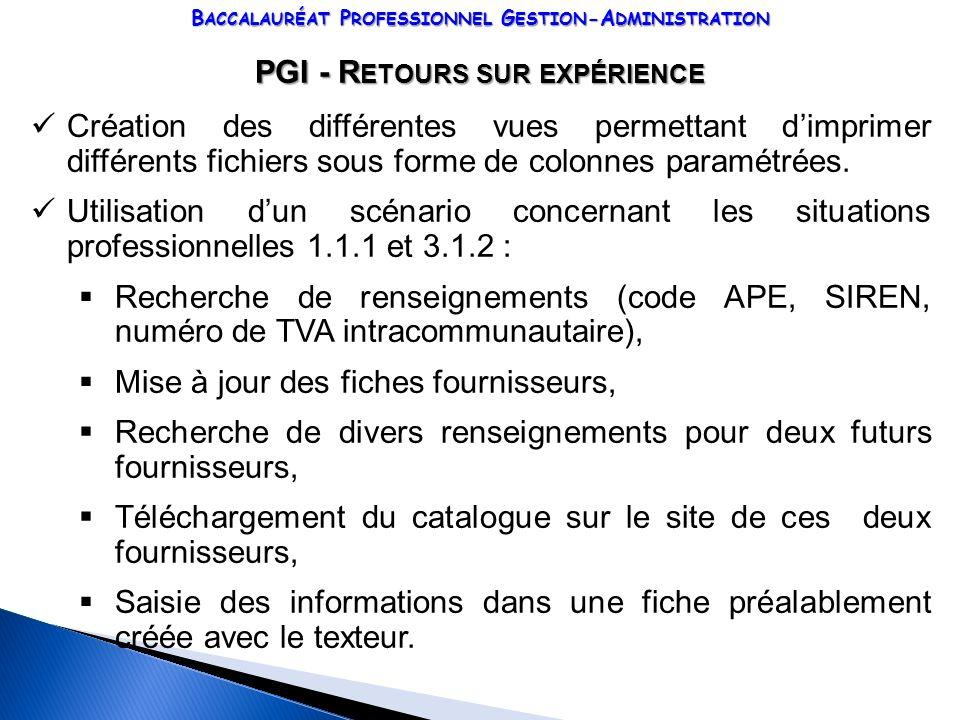 PGI - Retours sur expérience