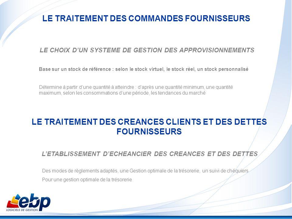 LE TRAITEMENT DES COMMANDES FOURNISSEURS