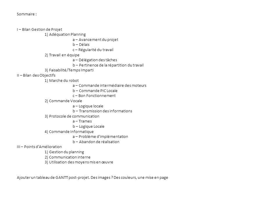 Sommaire : I – Bilan Gestion de Projet. 1) Adéquation Planning
