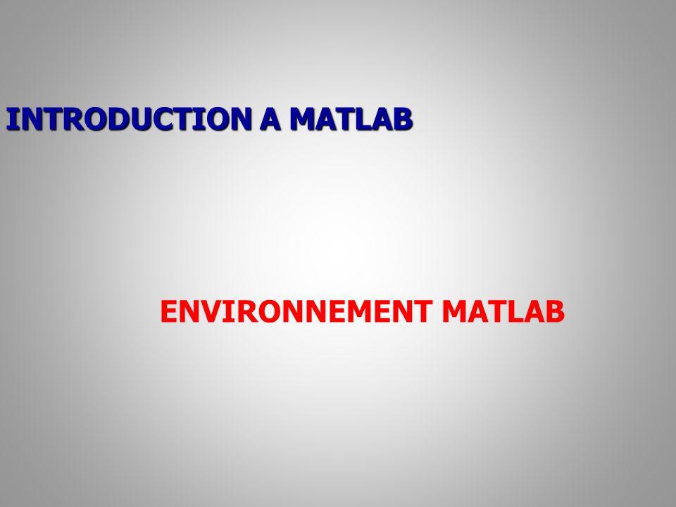 INTRODUCTION A MATLAB ENVIRONNEMENT MATLAB
