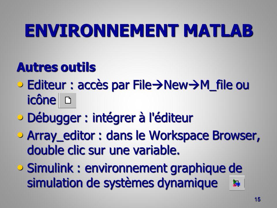 ENVIRONNEMENT MATLAB Autres outils