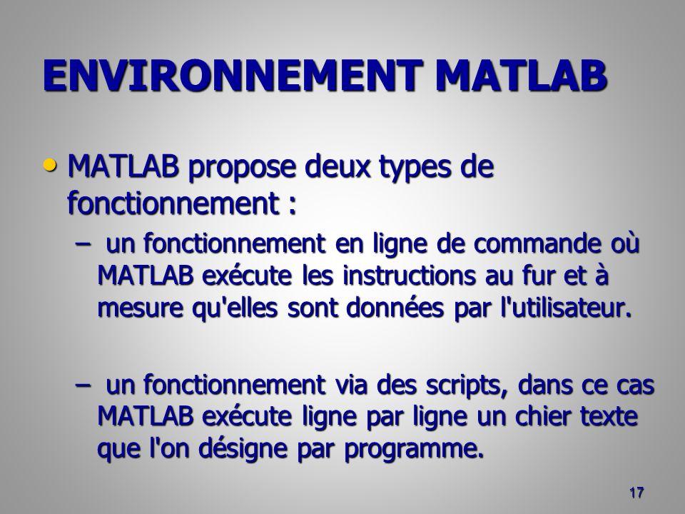 ENVIRONNEMENT MATLAB MATLAB propose deux types de fonctionnement :