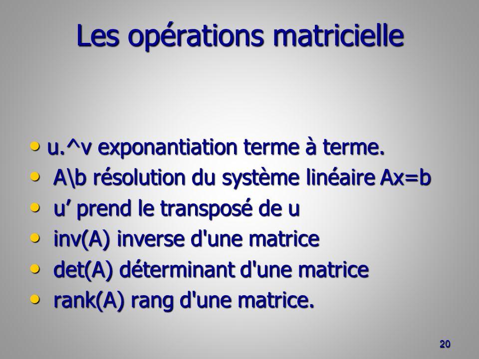 Les opérations matricielle