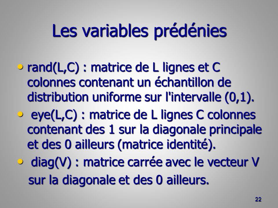 Les variables prédénies