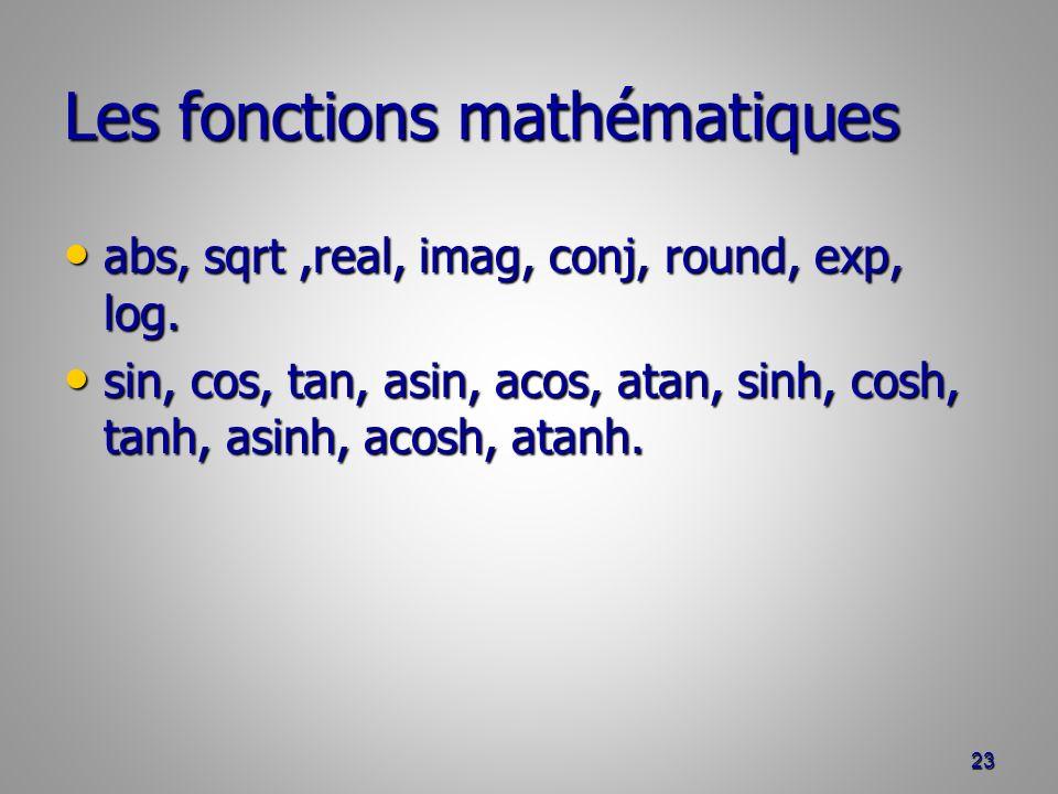 Les fonctions mathématiques