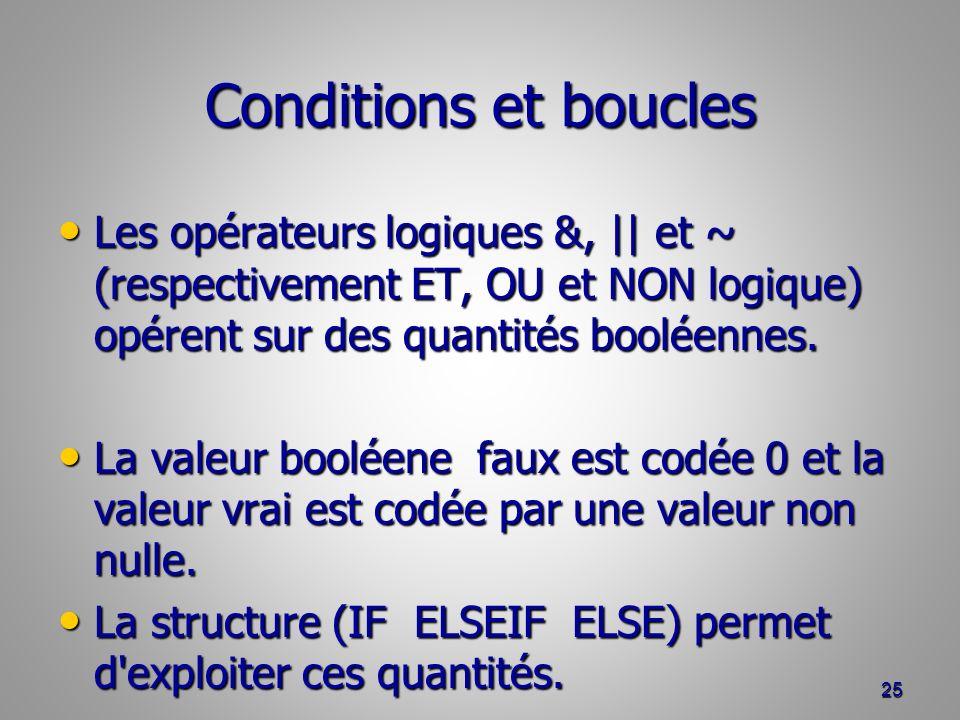 Conditions et boucles Les opérateurs logiques &, || et ~ (respectivement ET, OU et NON logique) opérent sur des quantités booléennes.