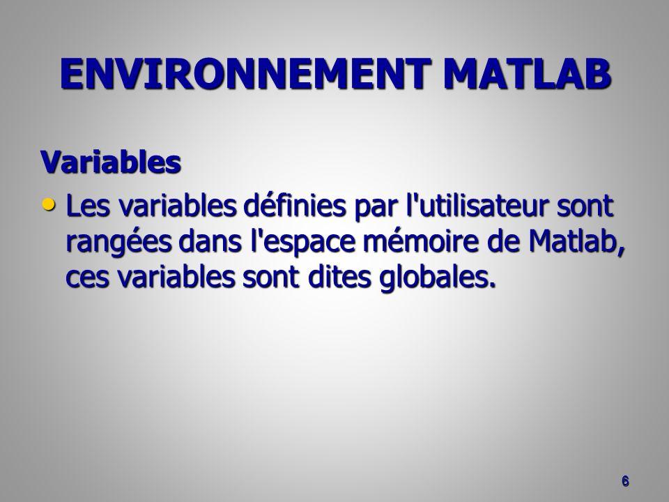 ENVIRONNEMENT MATLAB Variables