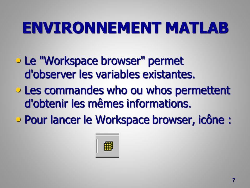 ENVIRONNEMENT MATLAB Le Workspace browser permet d observer les variables existantes.