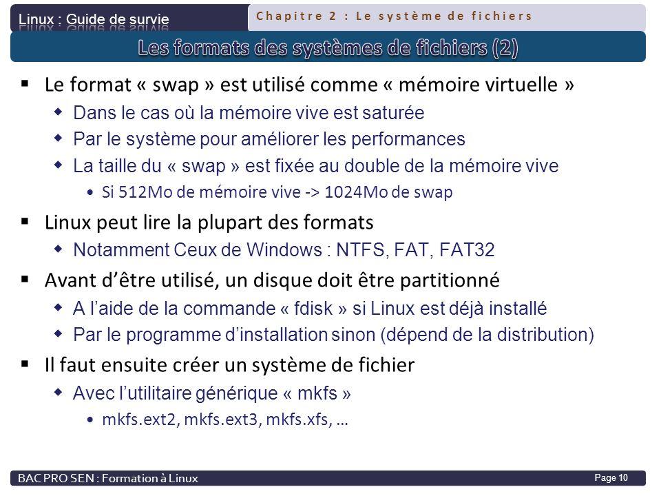 Les formats des systèmes de fichiers (2)