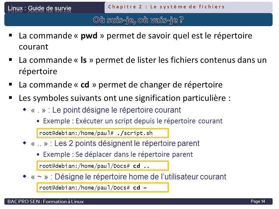La commande « pwd » permet de savoir quel est le répertoire courant