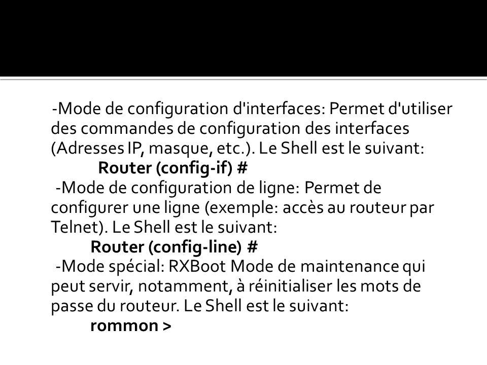 -Mode de configuration d interfaces: Permet d utiliser des commandes de configuration des interfaces (Adresses IP, masque, etc.). Le Shell est le suivant: