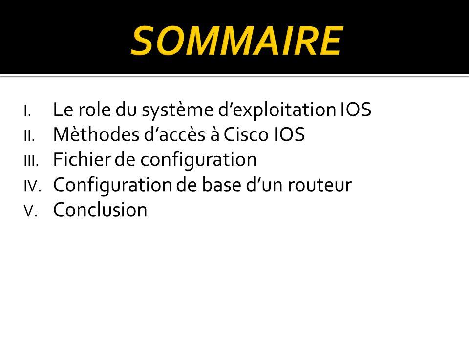 SOMMAIRE Le role du système d'exploitation IOS