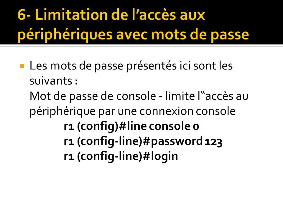 6- Limitation de l'accès aux périphériques avec mots de passe