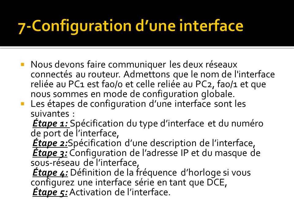 7-Configuration d'une interface