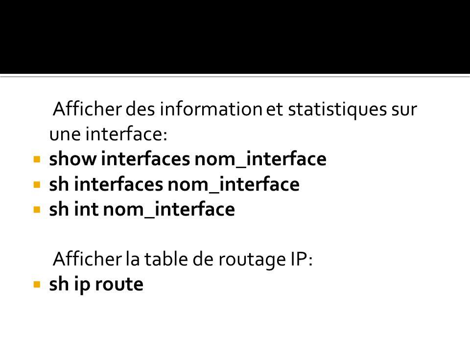 Afficher des information et statistiques sur une interface:
