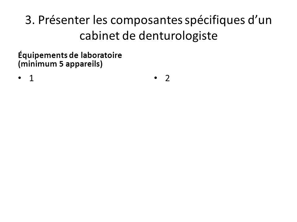 3. Présenter les composantes spécifiques d'un cabinet de denturologiste