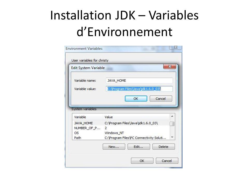 Installation JDK – Variables d'Environnement
