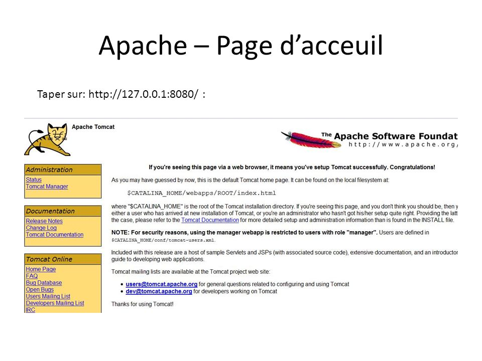 Apache – Page d'acceuil