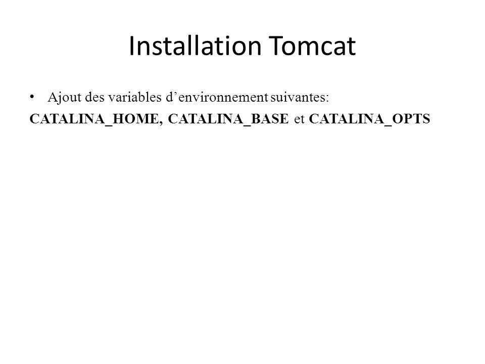 Installation Tomcat Ajout des variables d'environnement suivantes: