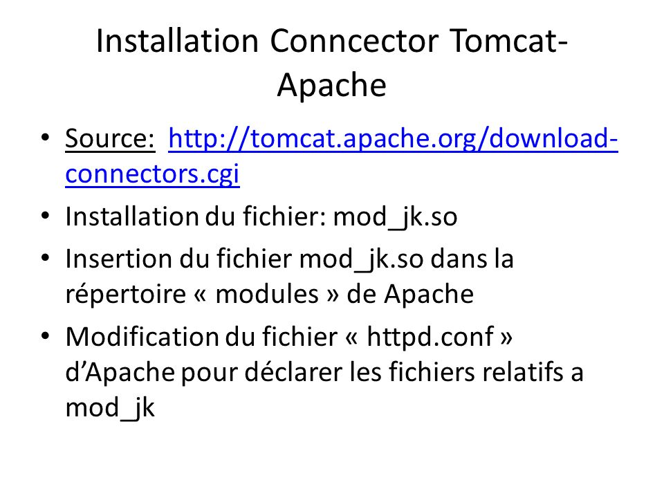 Installation Conncector Tomcat-Apache