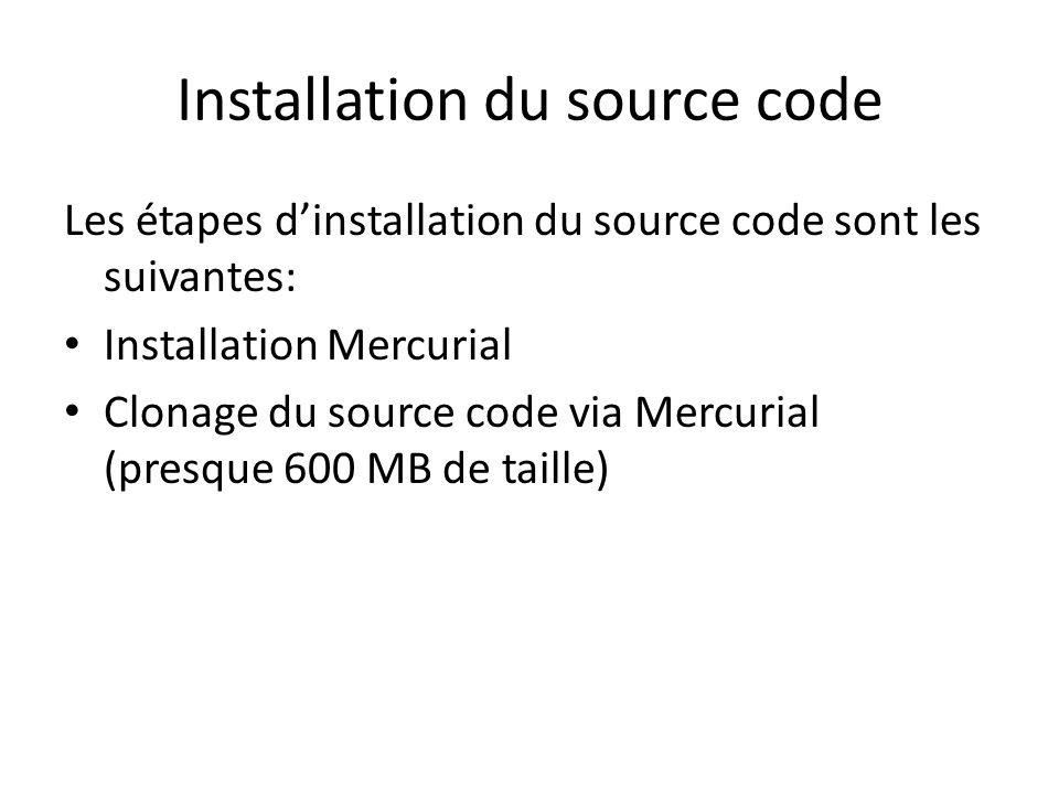Installation du source code