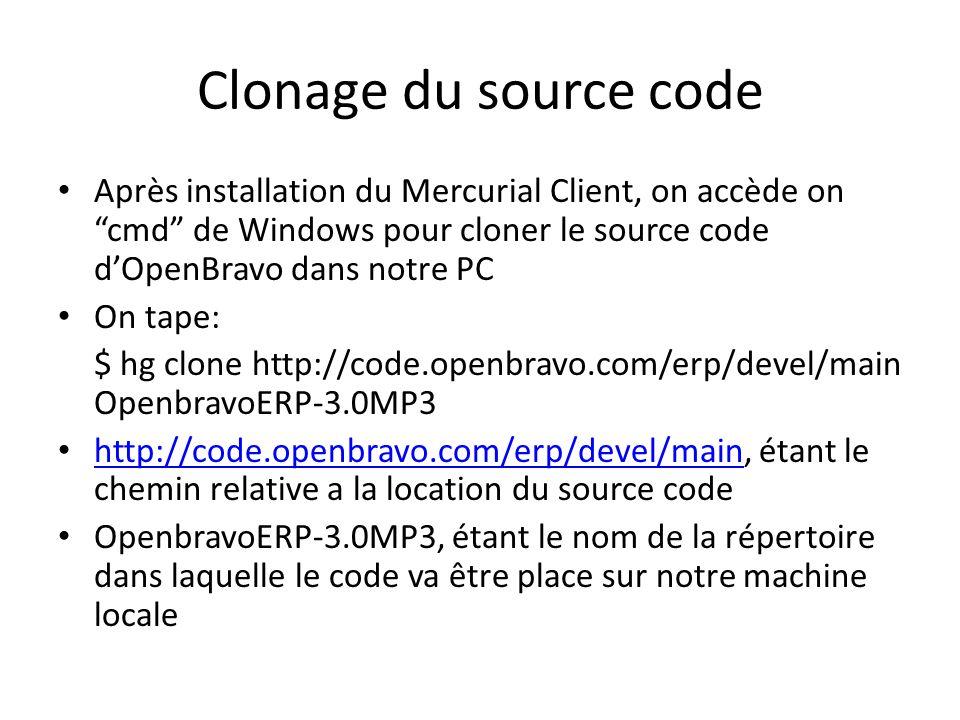 Clonage du source codeAprès installation du Mercurial Client, on accède on cmd de Windows pour cloner le source code d'OpenBravo dans notre PC.