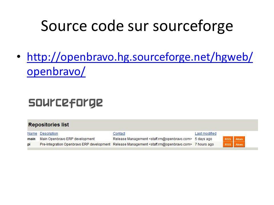 Source code sur sourceforge