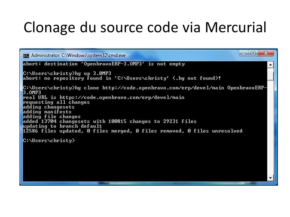 Clonage du source code via Mercurial