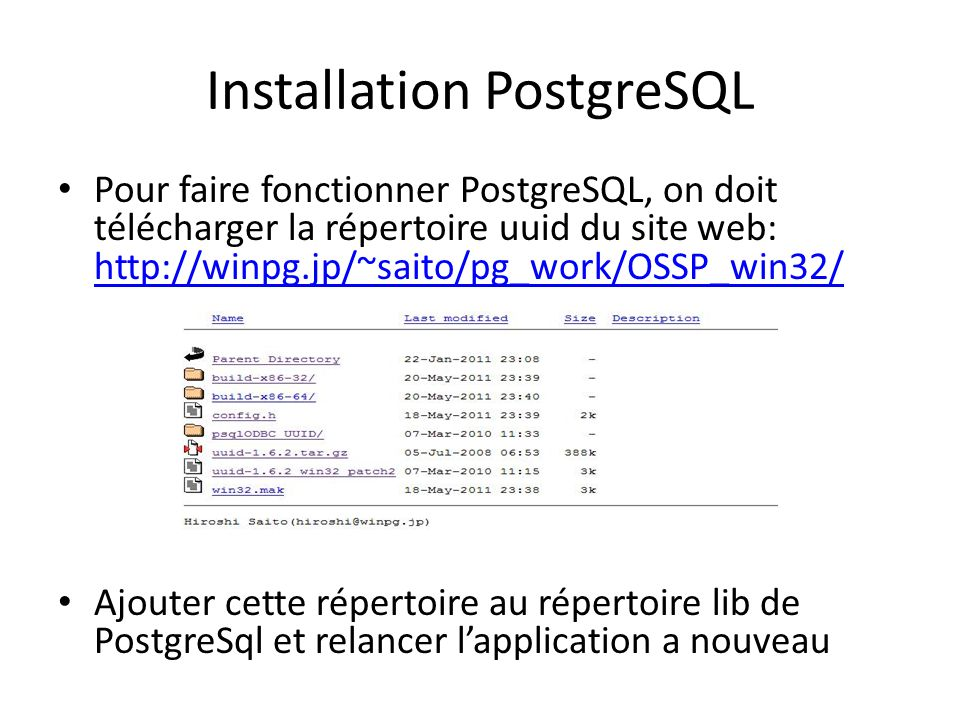 Installation PostgreSQL