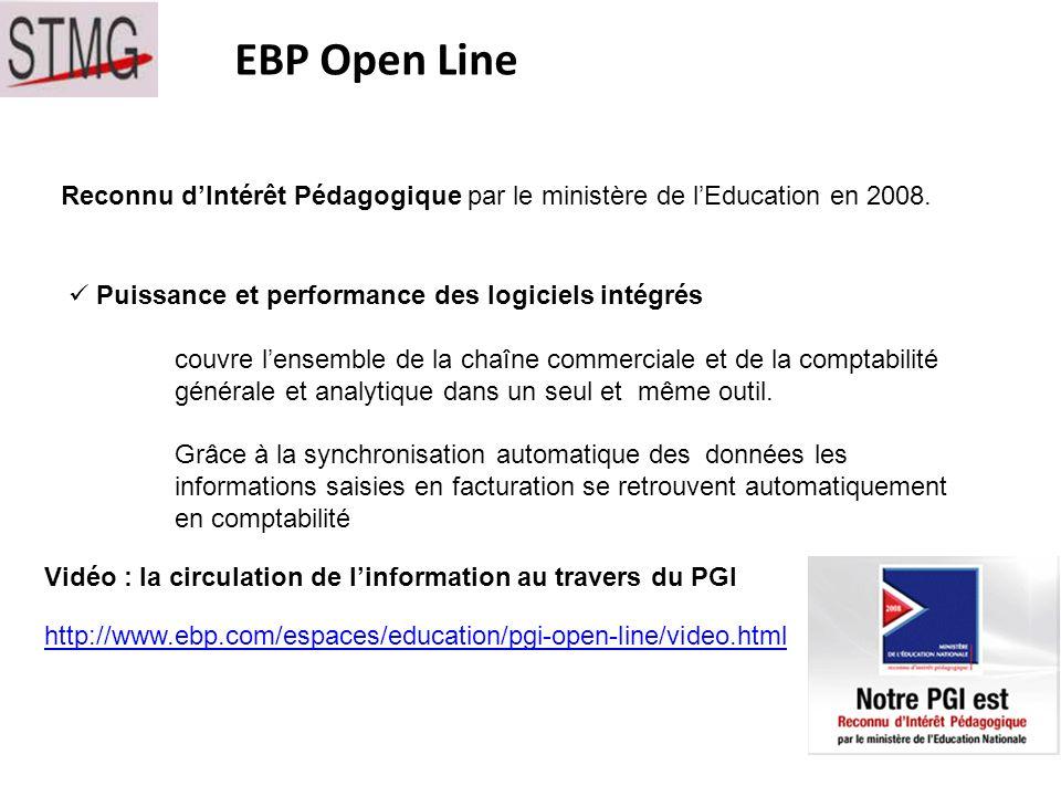 EBP Open Line Reconnu d'Intérêt Pédagogique par le ministère de l'Education en 2008. Puissance et performance des logiciels intégrés.