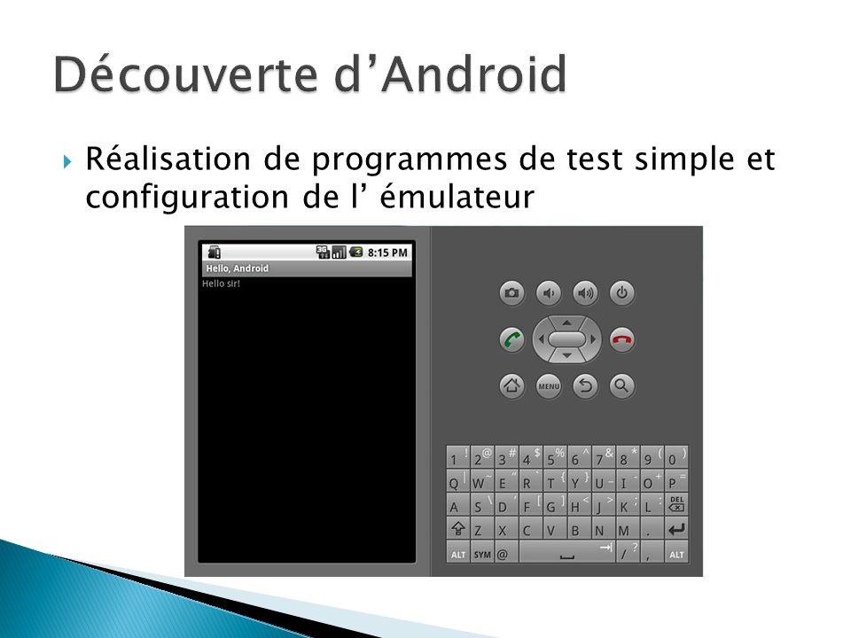 Découverte d'Android Réalisation de programmes de test simple et configuration de l' émulateur