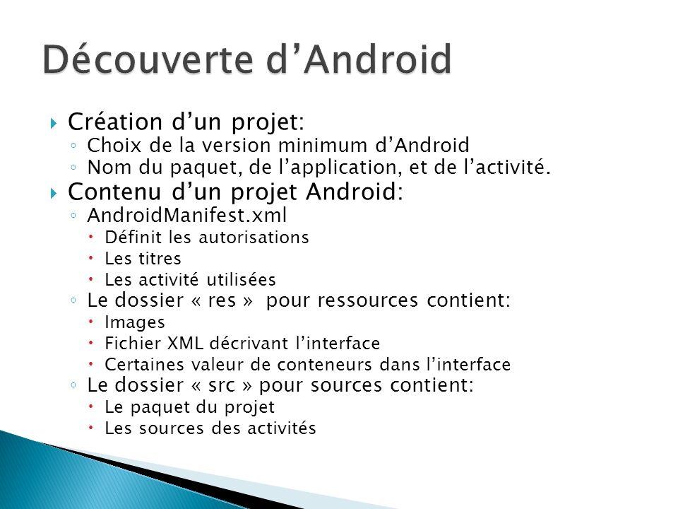 Découverte d'Android Création d'un projet: