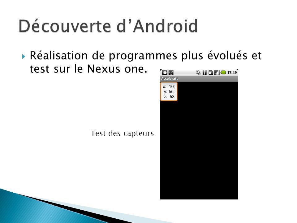 Découverte d'Android Réalisation de programmes plus évolués et test sur le Nexus one.