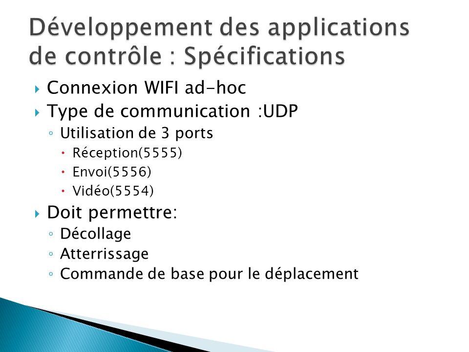 Développement des applications de contrôle : Spécifications
