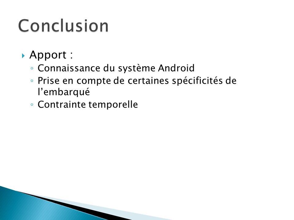 Conclusion Apport : Connaissance du système Android