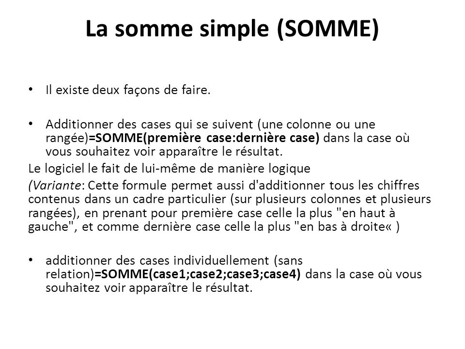 La somme simple (SOMME)